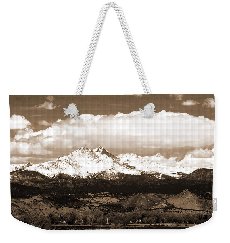 Twin Peeks Weekender Tote Bag featuring the photograph Twin Peaks In Sepia by James BO Insogna