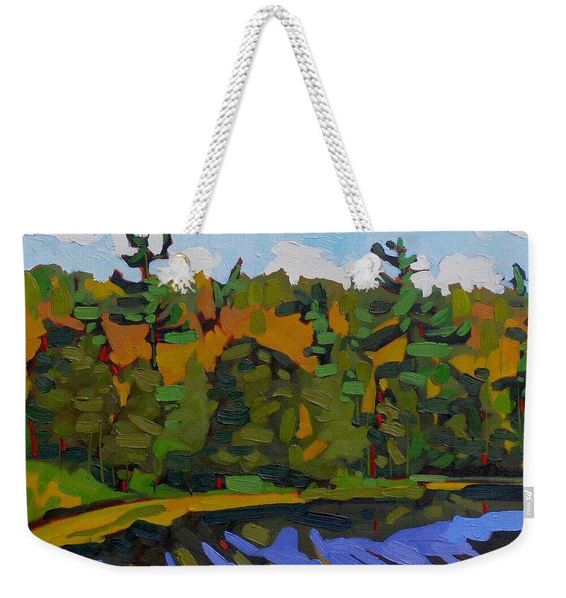 Autumn Weekender Tote Bag featuring the painting Twin Pines by Phil Chadwick