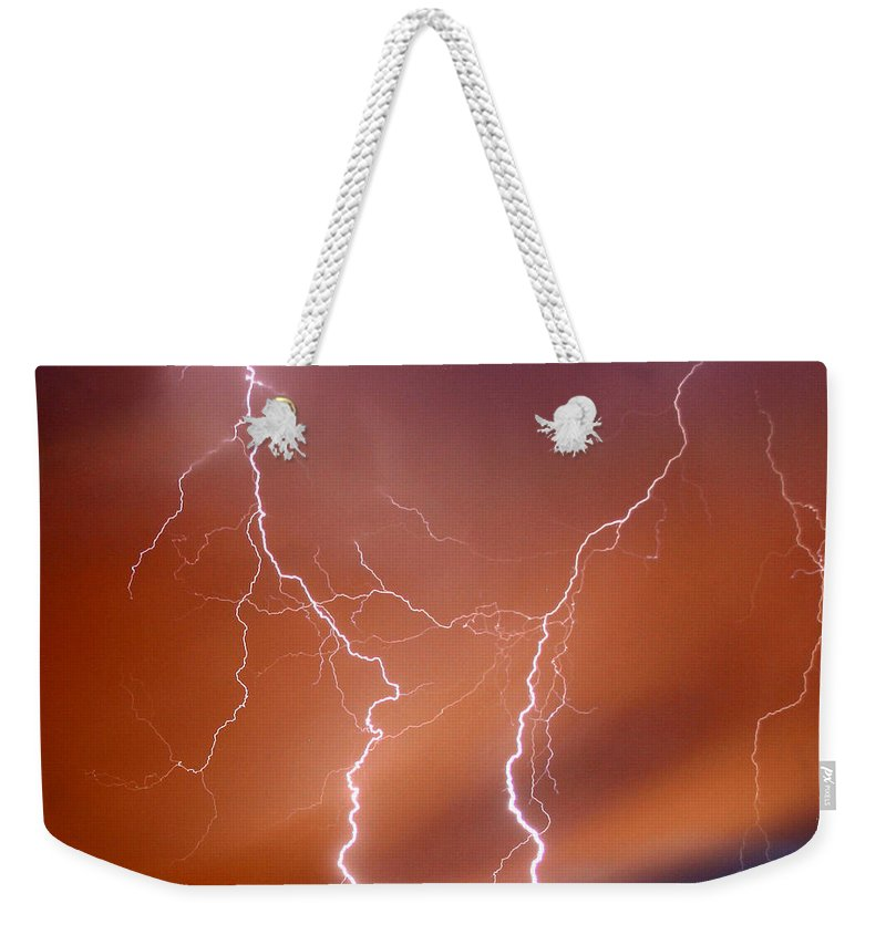 Lightning Weekender Tote Bag featuring the photograph Twin Strike by Anthony Jones