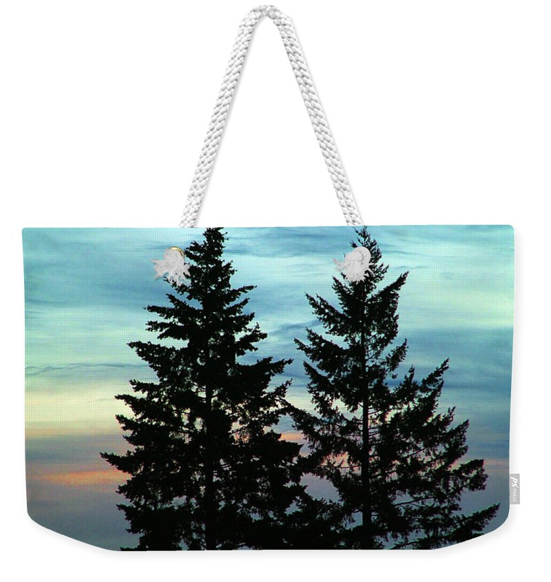 Twin Trees Weekender Tote Bag featuring the photograph Twin Trees by Nick Gustafson