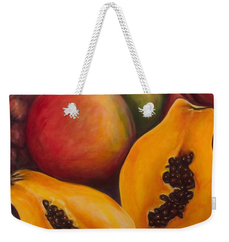 Papaya Weekender Tote Bag featuring the painting Twins by Shannon Grissom