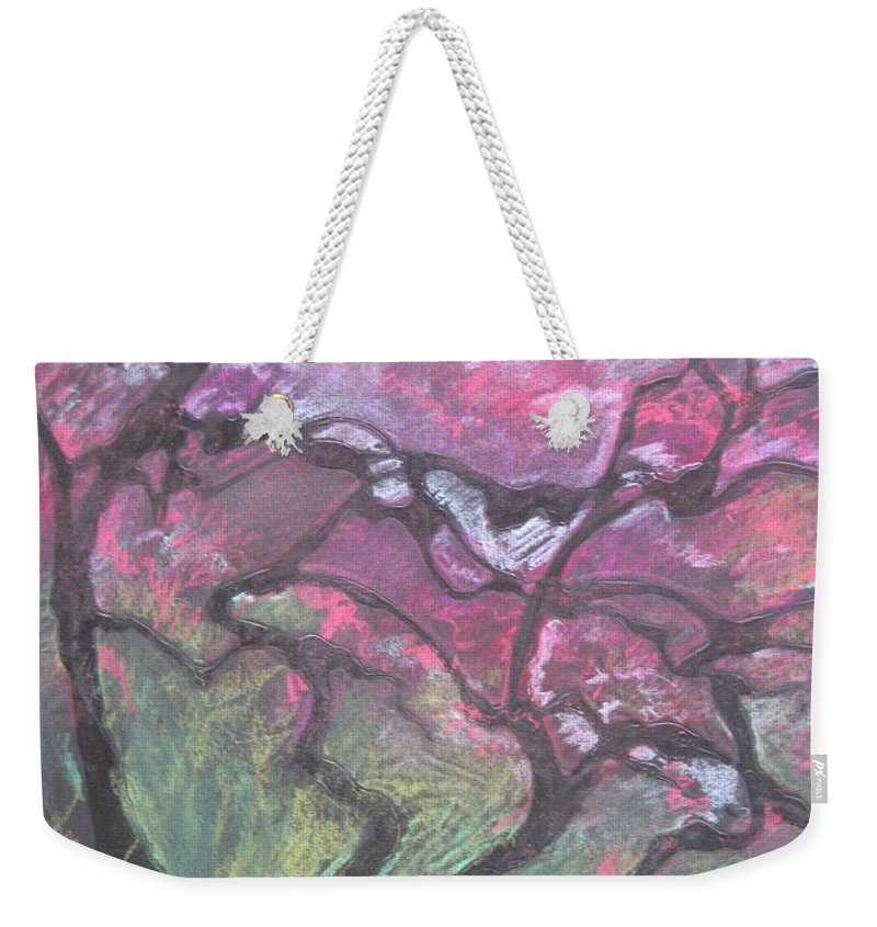 Pastel Weekender Tote Bag featuring the drawing Twisted Cherry by Leah Tomaino