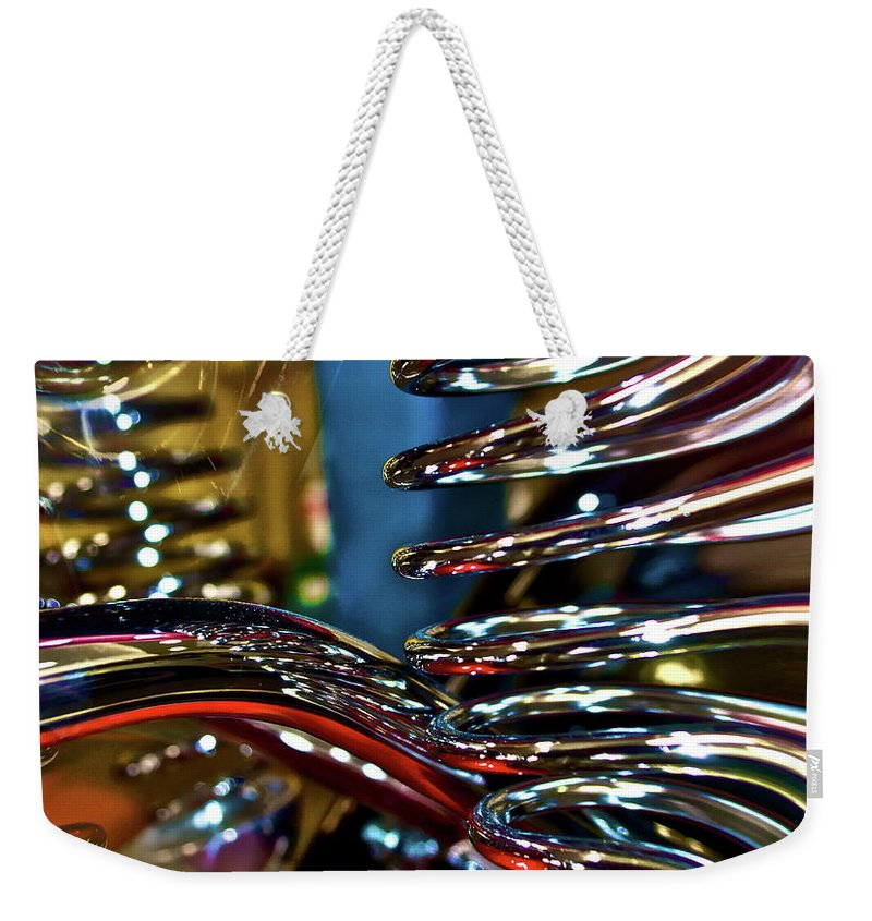 Chrome Weekender Tote Bag featuring the digital art Twisted Chrome by Gwyn Newcombe