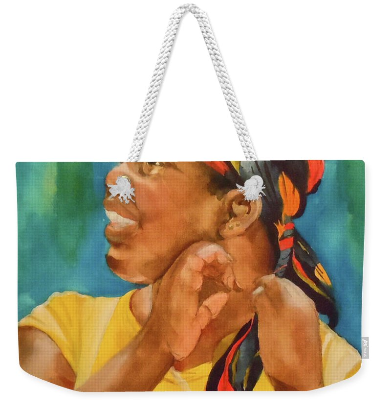 Girl Weekender Tote Bag featuring the painting Twisted Sister by Jean Blackmer