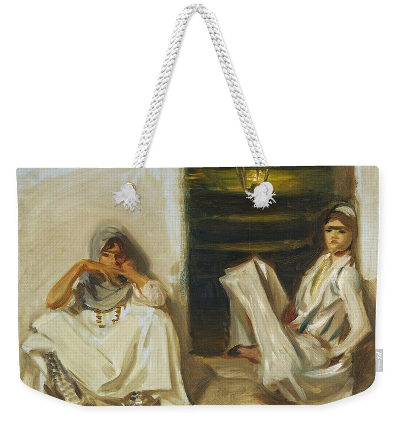 John Singer Sargent Weekender Tote Bag featuring the painting Two Arab Women by John Singer Sargent