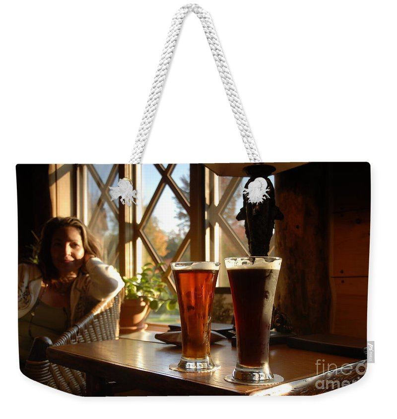 Beer Weekender Tote Bag featuring the photograph Two Beers At The Lodge by David Lee Thompson