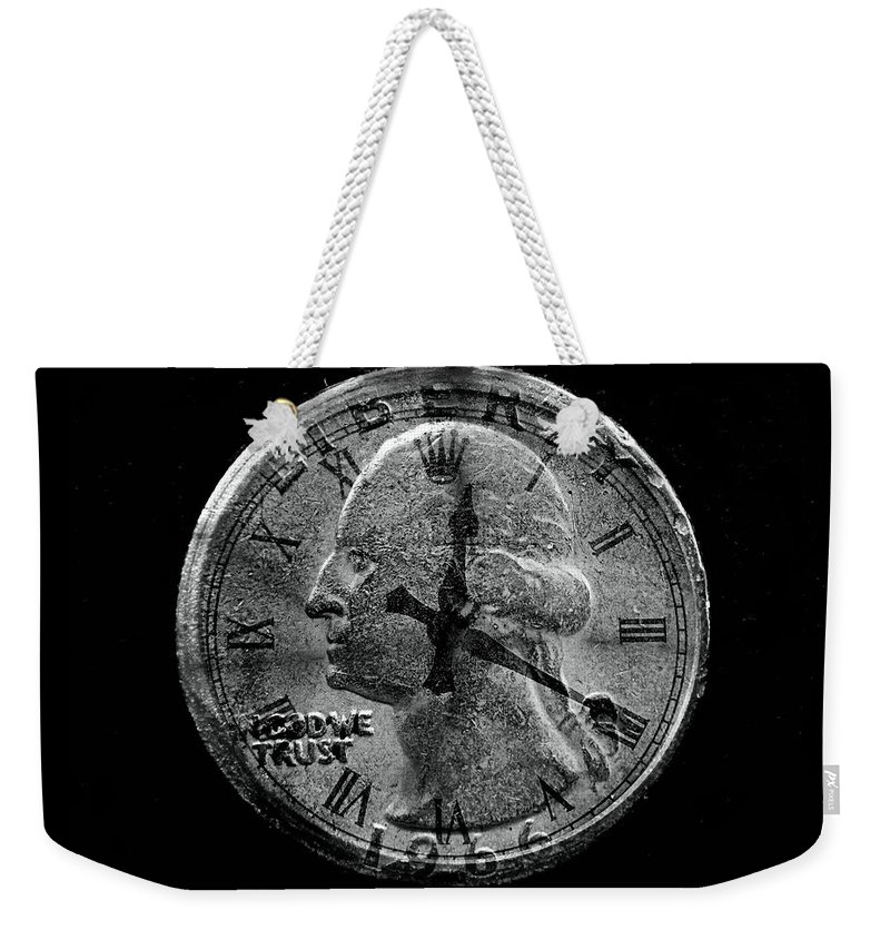 Quarter Weekender Tote Bag featuring the photograph Two Bits For Your Time by Bob Welch