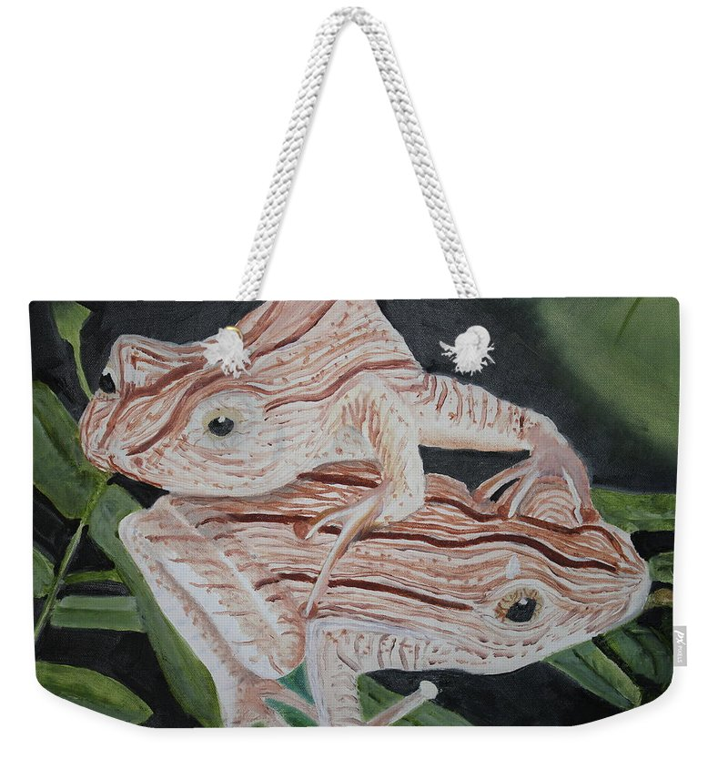 Amphibian Weekender Tote Bag featuring the painting Two Brown Striped Frogs by Terry Lewey