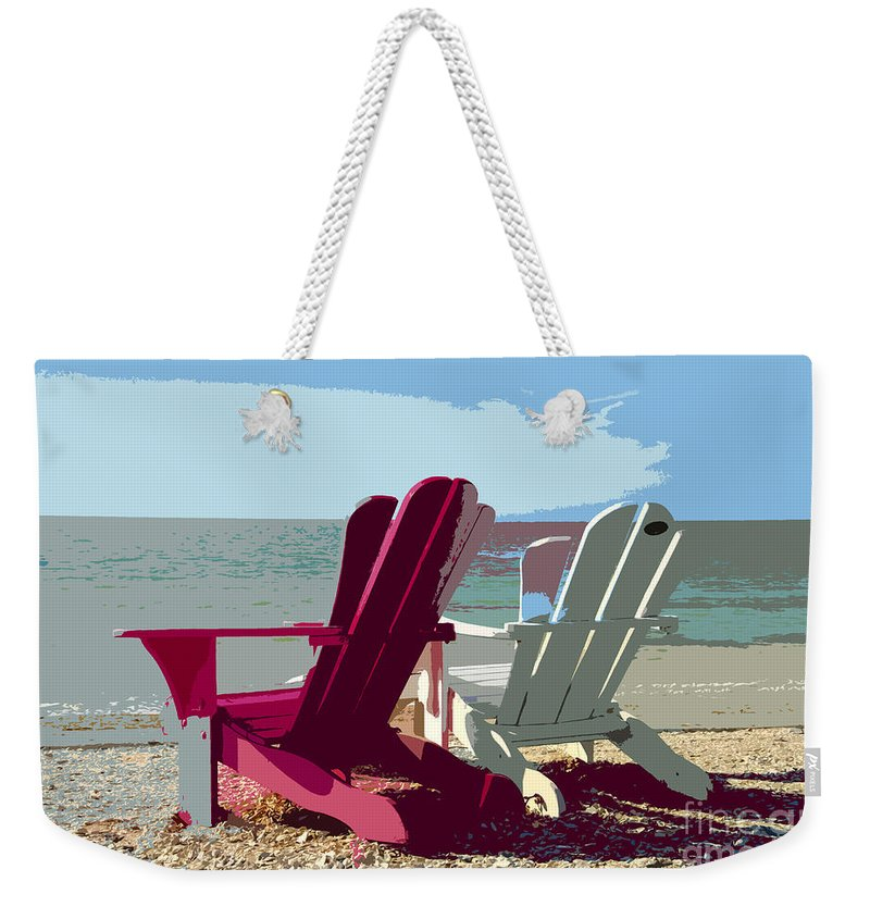 Beach Weekender Tote Bag featuring the painting Two By The Shore by David Lee Thompson