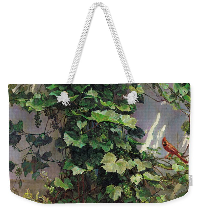 American Weekender Tote Bag featuring the painting Two Cardinals On The Vine Tree by Svitozar Nenyuk