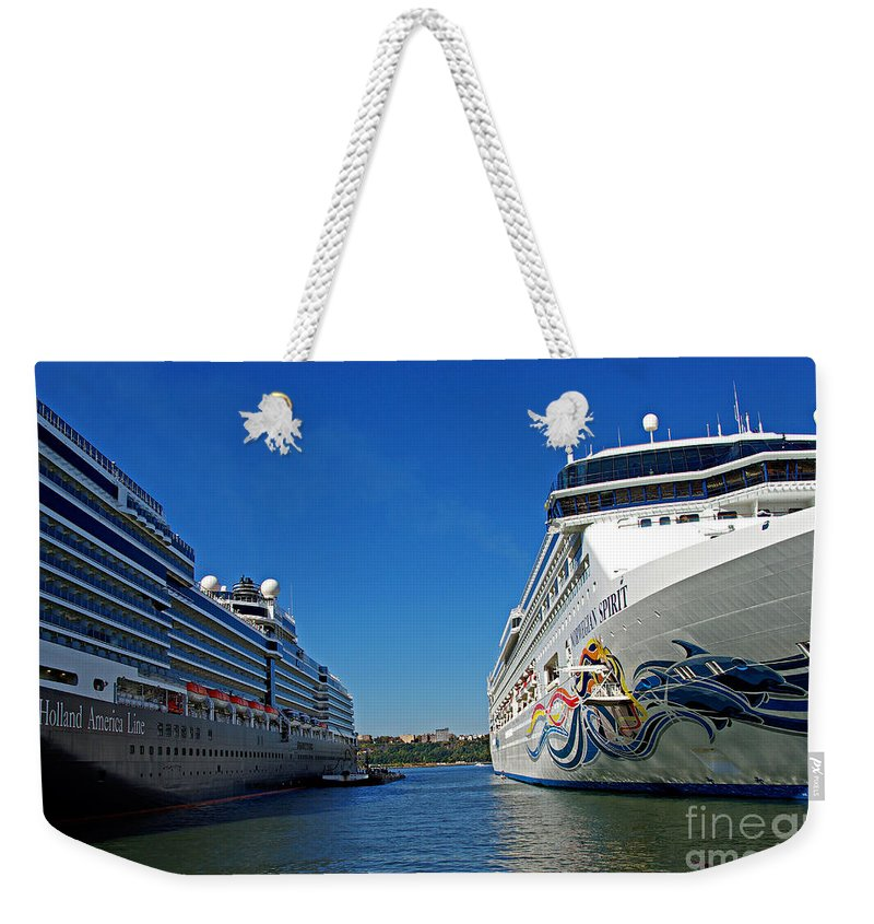 Cruise Weekender Tote Bag featuring the photograph Two Cruise Ships by Zal Latzkovich
