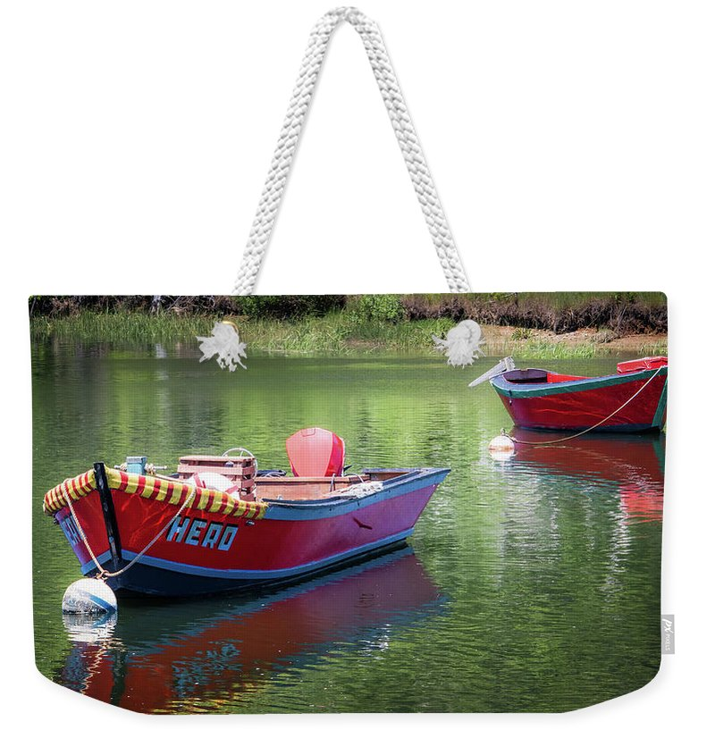 Boat Weekender Tote Bag featuring the photograph Two Dories by Robert Anastasi