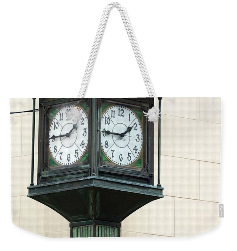 Time Clock Architecture Green Urban City Weekender Tote Bag featuring the photograph Two Faced Time by Jill Reger