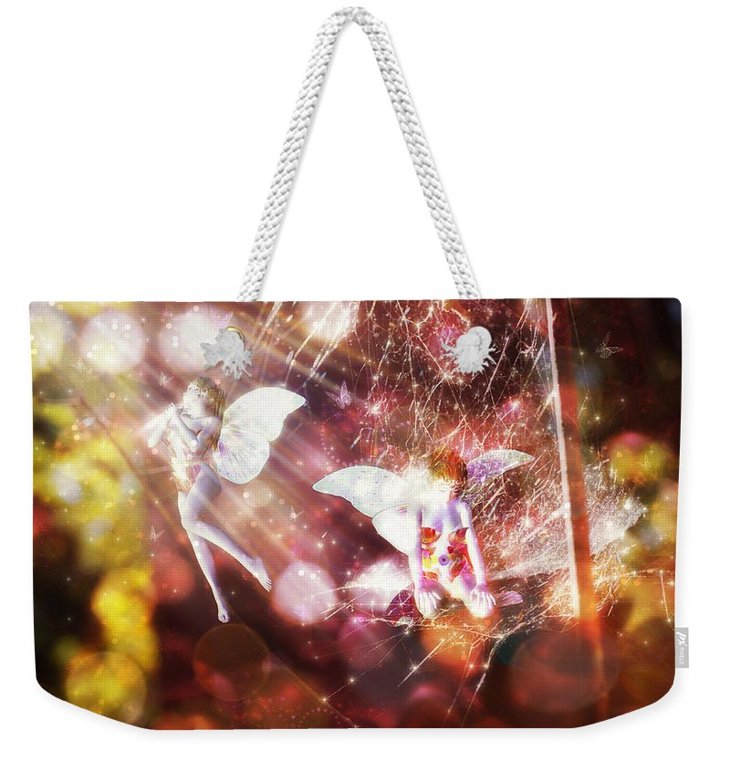 Two Fairies Weekender Tote Bag featuring the digital art Two Fairies In The Web by Lilia D