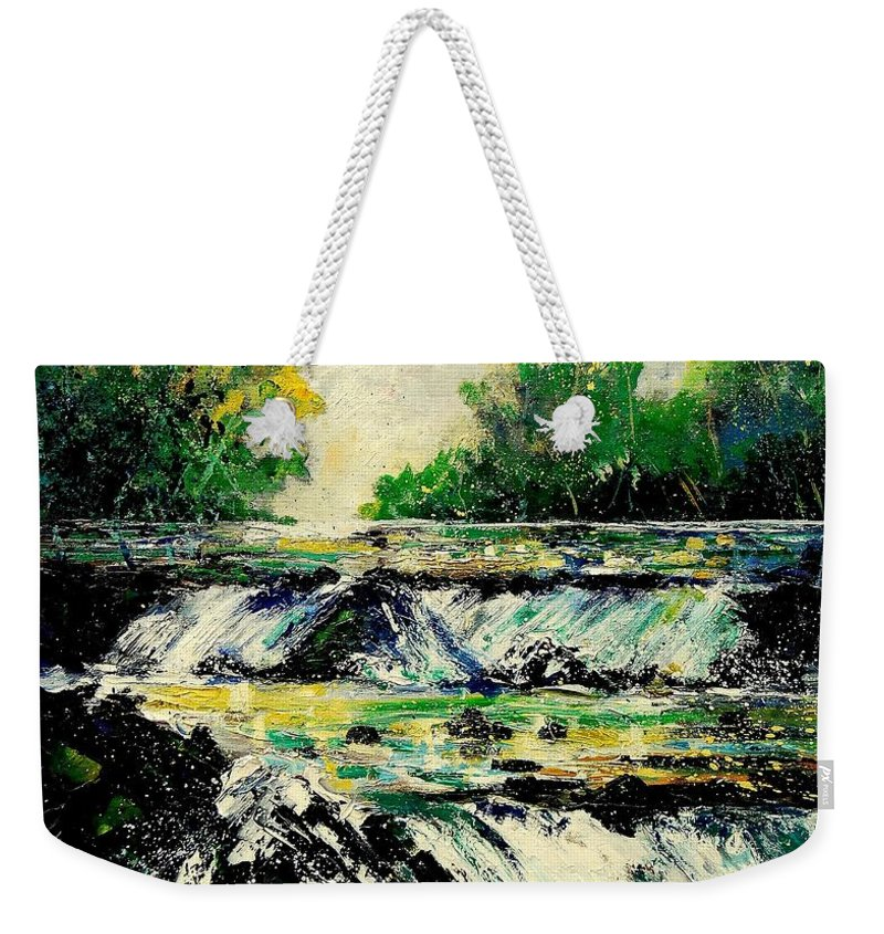 River Weekender Tote Bag featuring the painting Two Falls by Pol Ledent