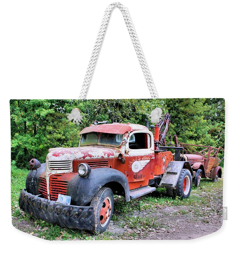 Old Truck Weekender Tote Bag featuring the photograph Two for One by Kristin Elmquist