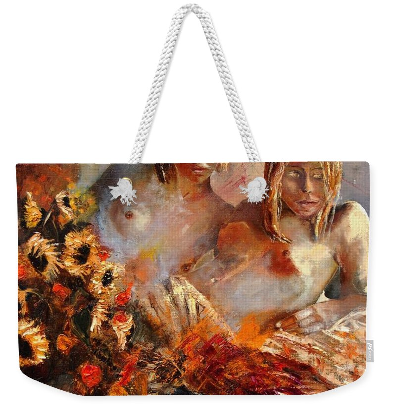 Girl Nude Weekender Tote Bag featuring the painting Two Friends by Pol Ledent