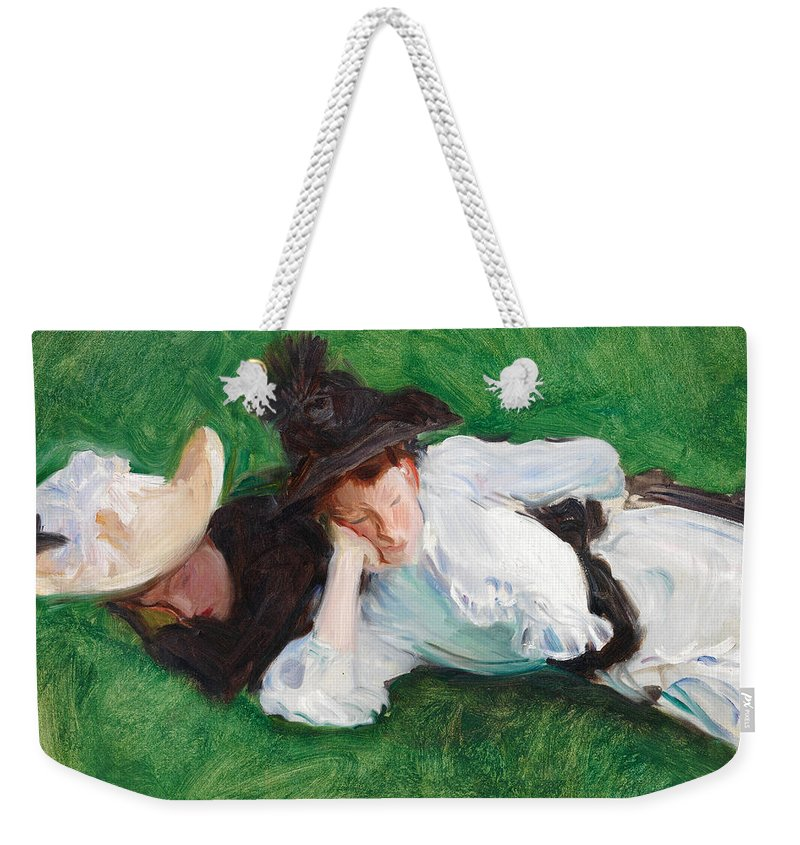 John Singer Sargent Weekender Tote Bag featuring the painting Two Girls On A Lawn by John Singer Sargent