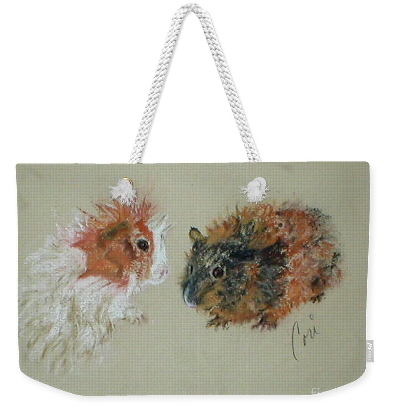Guineas Weekender Tote Bag featuring the drawing Two Guineas by Cori Solomon