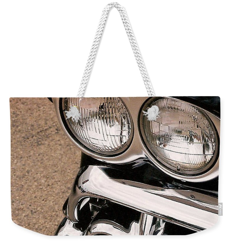 Headlights Weekender Tote Bag featuring the photograph Two Headlights by Lauri Novak