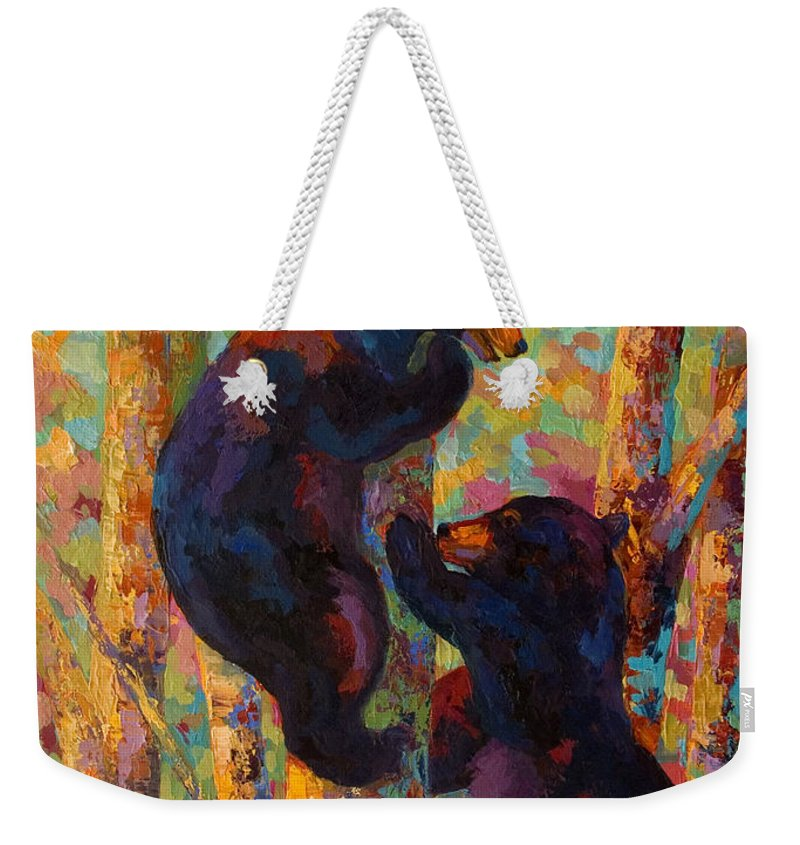 Bear Weekender Tote Bag featuring the painting Two High - Black Bear Cubs by Marion Rose