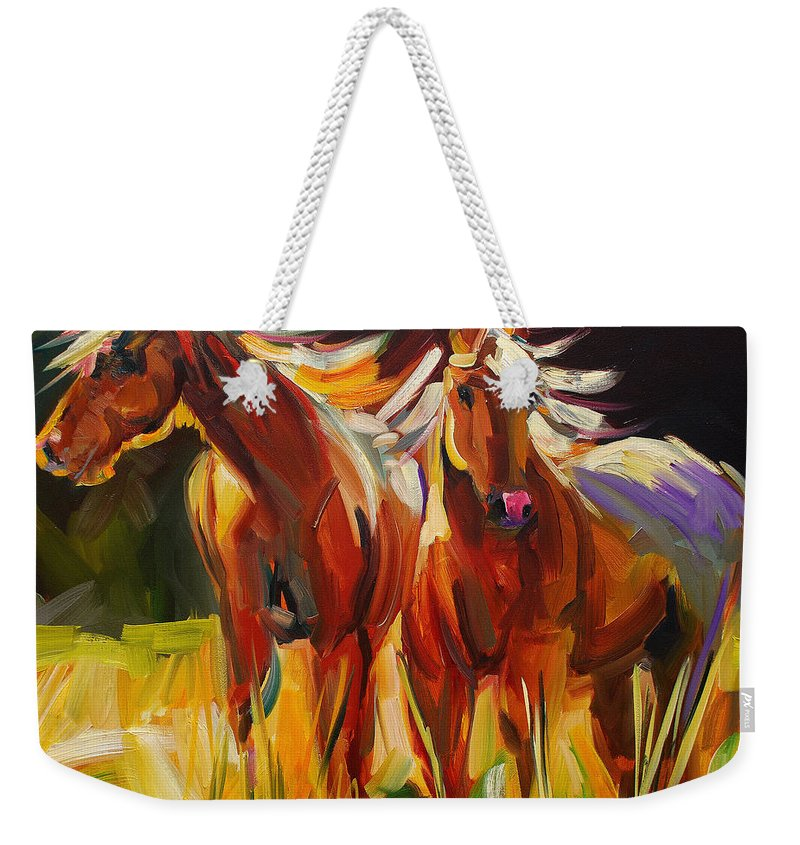 Painting Weekender Tote Bag featuring the painting Two Horse Town by Diane Whitehead