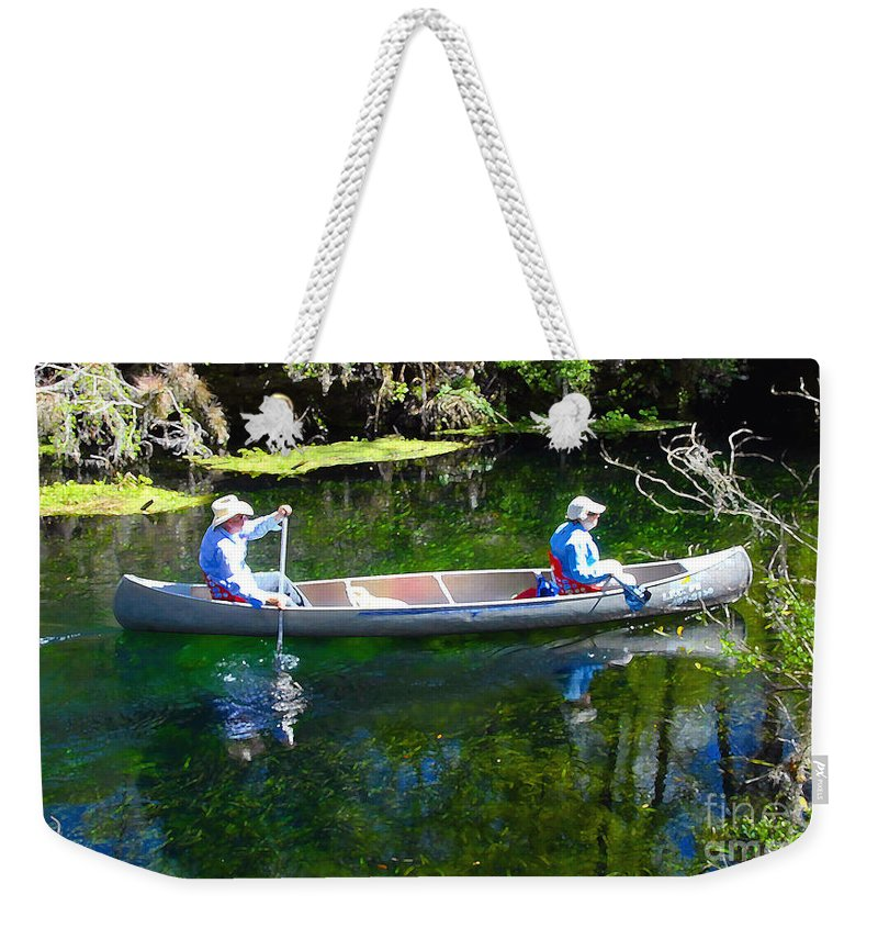 Canoe Weekender Tote Bag featuring the photograph Two In A Canoe by David Lee Thompson