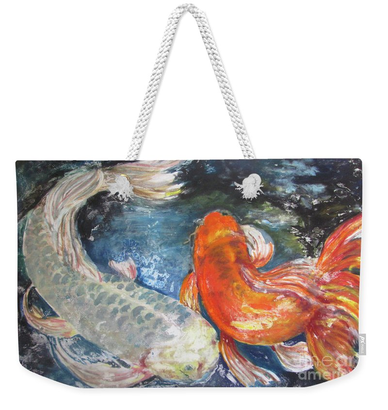 Fish Weekender Tote Bag featuring the painting Two Koi by Susan Herbst