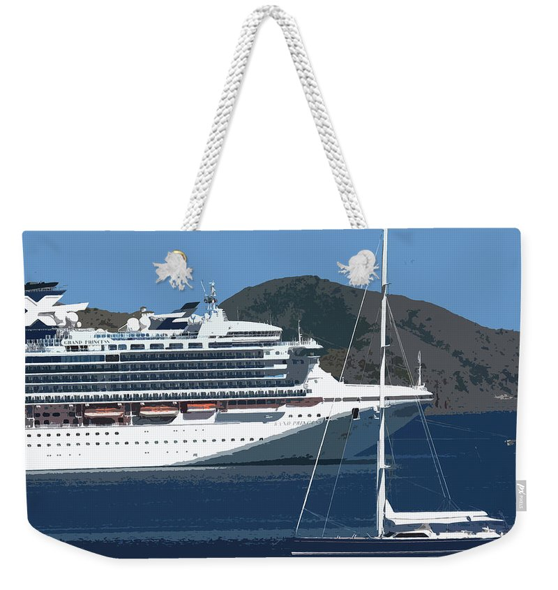 Carnival Weekender Tote Bag featuring the photograph Two Ladies Passing by Ian MacDonald
