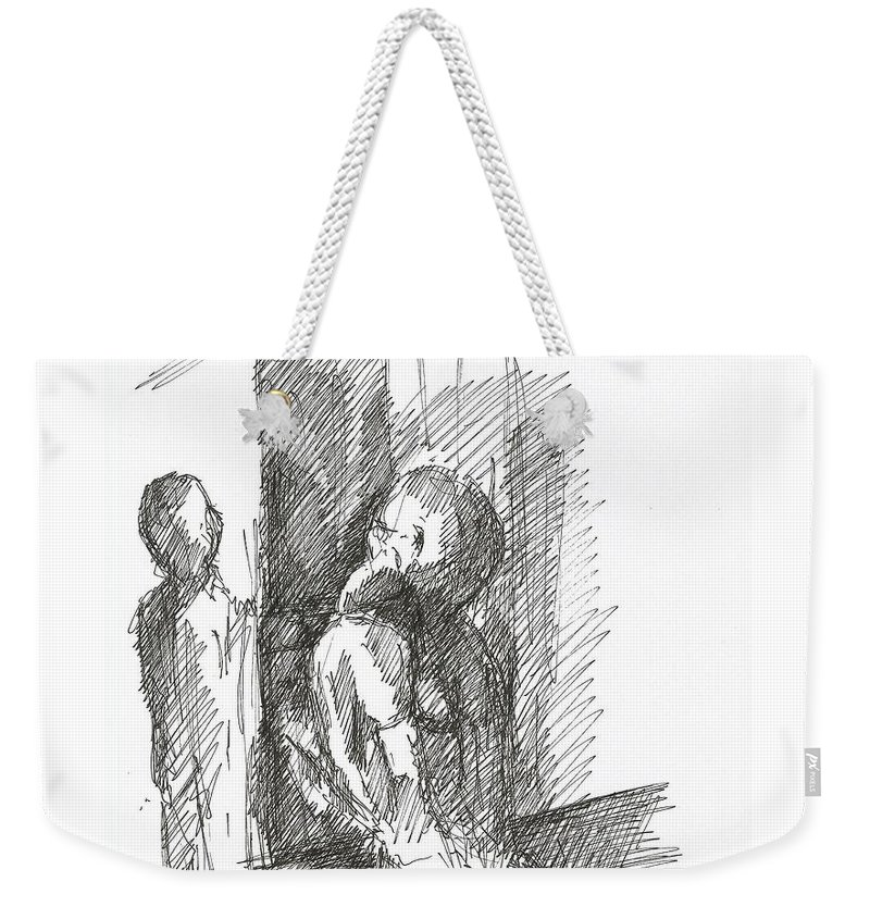 Two Cell People Pen Drawing Paper Weekender Tote Bag featuring the drawing two by Lampros Christakis