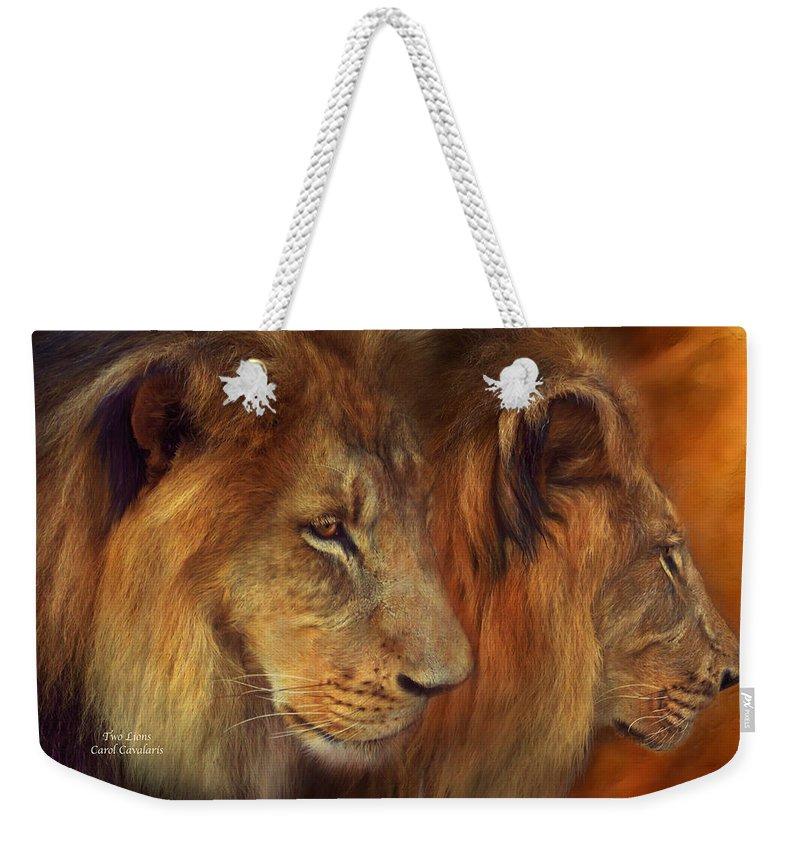 Carol Cavalaris Weekender Tote Bag featuring the mixed media Two Lions by Carol Cavalaris