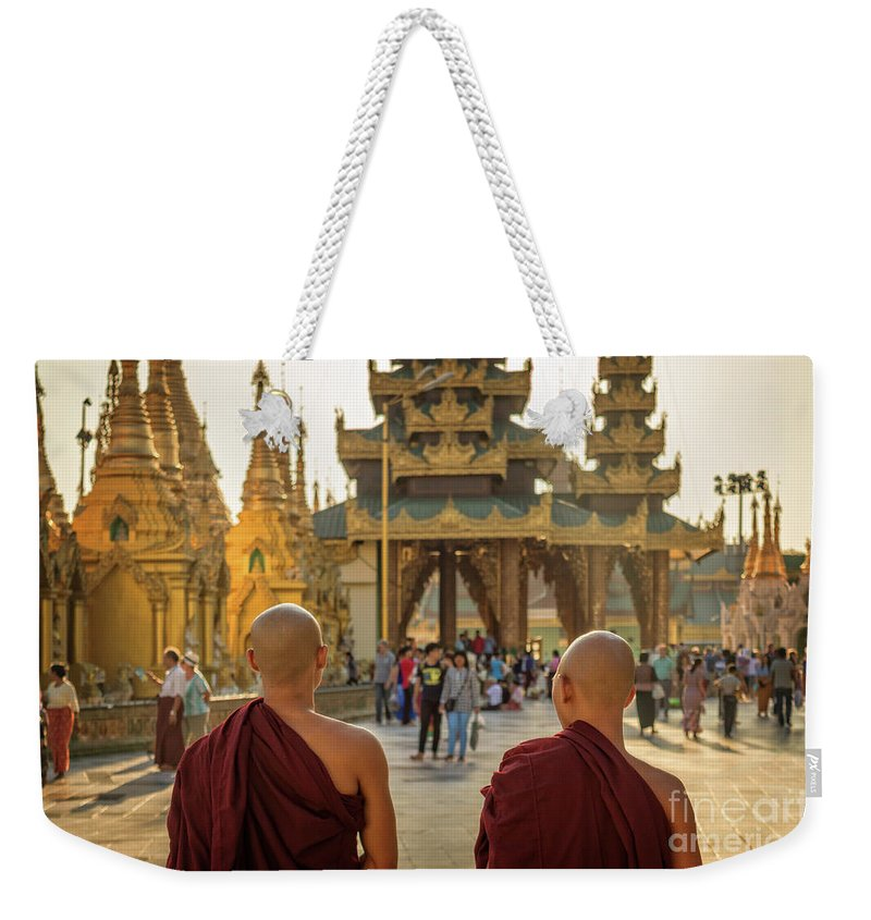Burma Weekender Tote Bag featuring the photograph Two Monks by Louise Poggianti