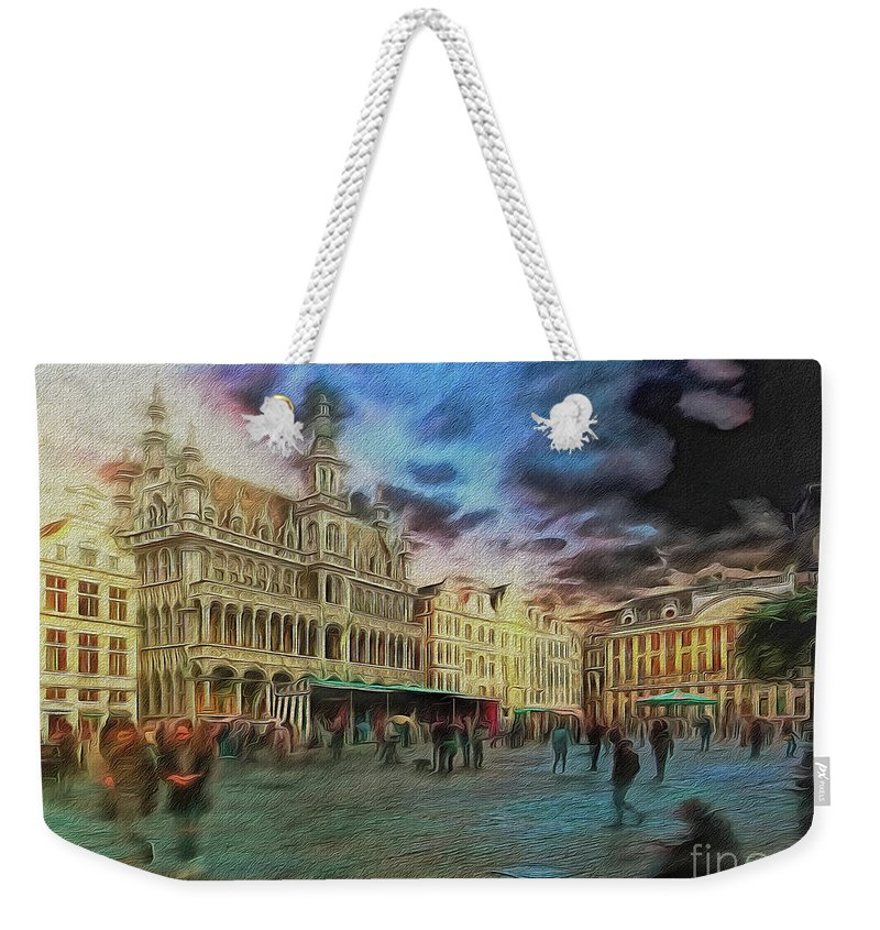 Painterly Weekender Tote Bag featuring the digital art Two Nights In Brussels #21 Season's End by Leigh Kemp