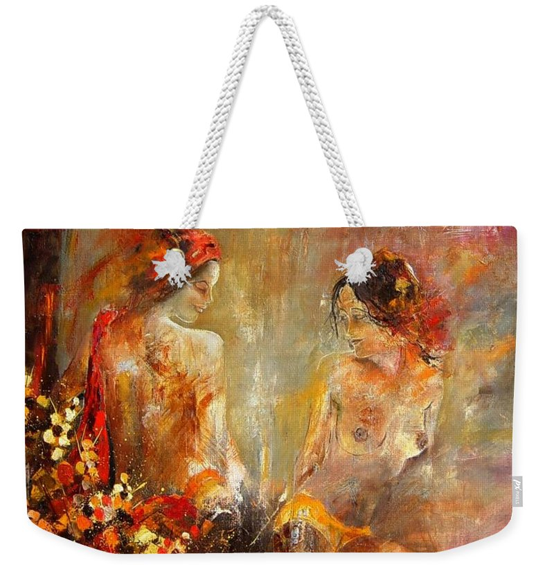 Girl Nude Weekender Tote Bag featuring the painting Two Nudes by Pol Ledent