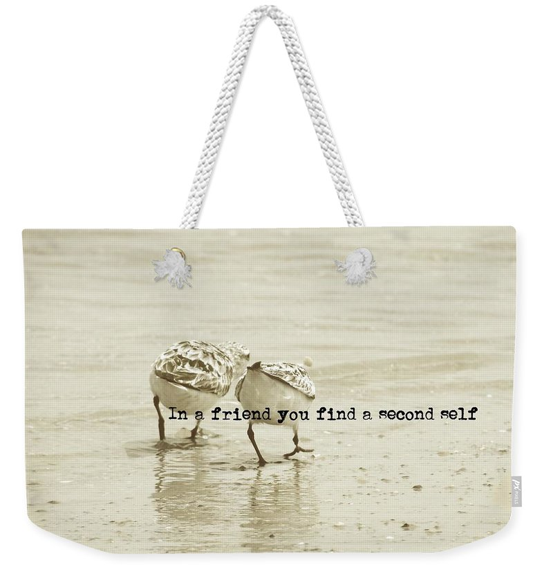 Bird Weekender Tote Bag featuring the photograph Two Of A Kind Quote by JAMART Photography