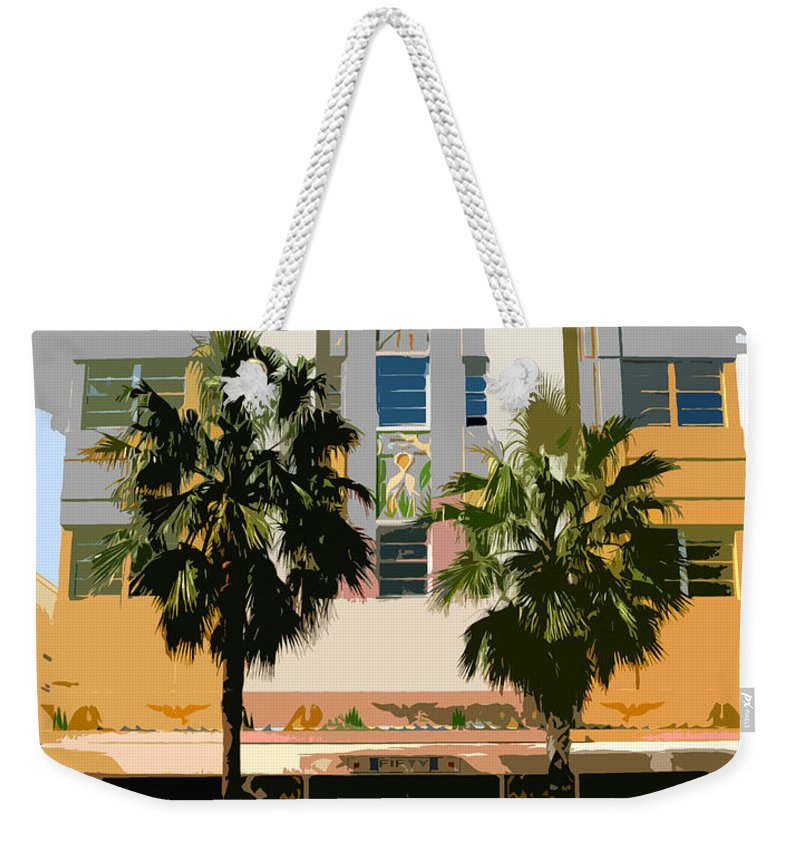 Miami Beach Florida Weekender Tote Bag featuring the photograph Two Palms Art Deco Building by David Lee Thompson