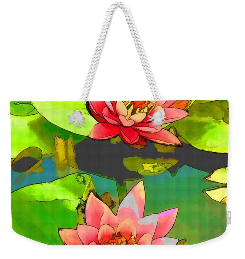 Aquatic Weekender Tote Bag featuring the painting Two Pink Blooming Water Lilies by Jeelan Clark