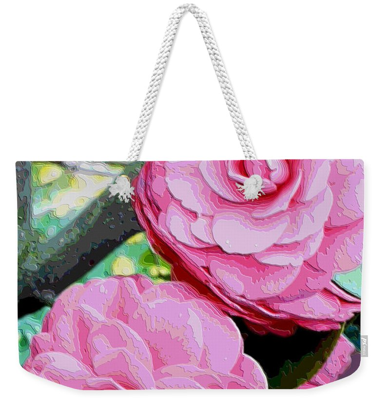 Camellia Weekender Tote Bag featuring the photograph Two Pink Camellias - Digital Art by Carol Groenen