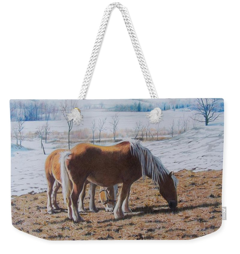 Horses Weekender Tote Bag featuring the mixed media Two Ponies In The Snow by Constance Drescher