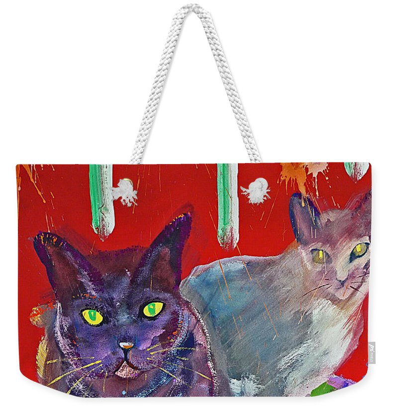 Cat Weekender Tote Bag featuring the painting Two Posh Cats by Charles Stuart