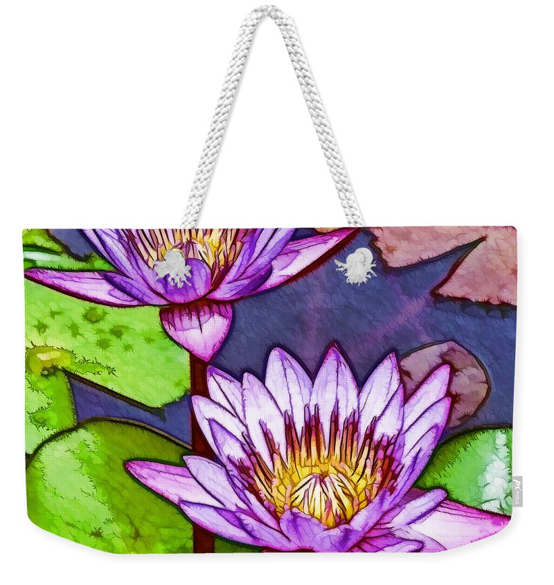 Pink Lotus Flower Weekender Tote Bag featuring the painting Two Purple Lotus Flower by Jeelan Clark