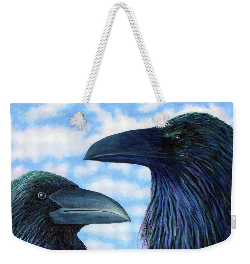 Raven Weekender Tote Bag featuring the painting Two Ravens by Brian Commerford