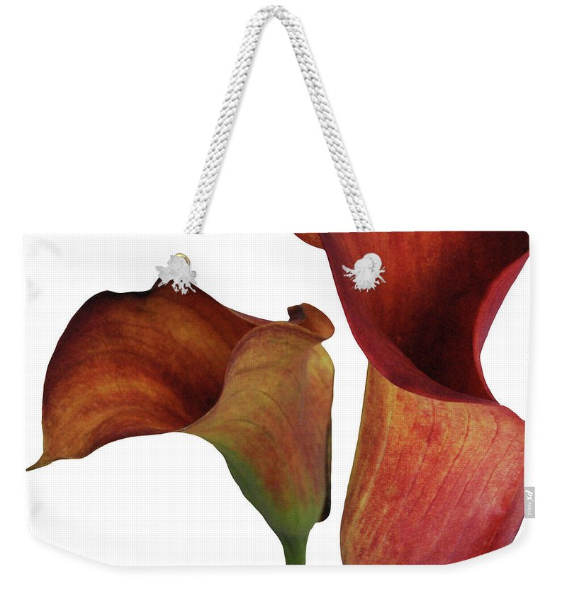 Rust Weekender Tote Bag featuring the photograph Two Rust Calla Lilies Square by Heather Kirk