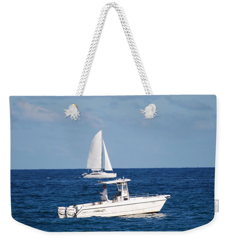 Sea Scape Weekender Tote Bag featuring the photograph Two Ships That Pass Thru The Day by Rob Hans