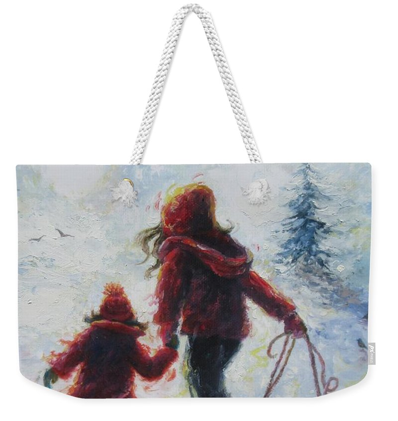 Two Sisters Weekender Tote Bag featuring the painting Two Sisters Going Sledding by Vickie Wade