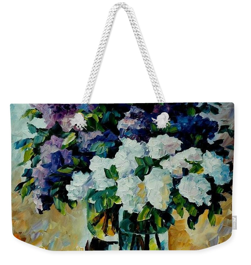 Painting Weekender Tote Bag featuring the painting Two Spring Colors by Leonid Afremov