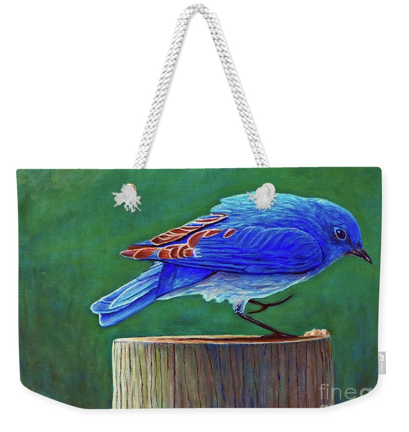 Bluebird Weekender Tote Bag featuring the painting Two Step by Brian Commerford