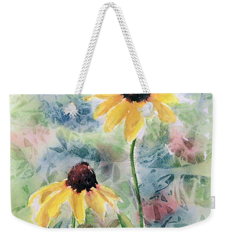 Watercolor Weekender Tote Bag featuring the painting Two Sunflowers by Debbie Lewis