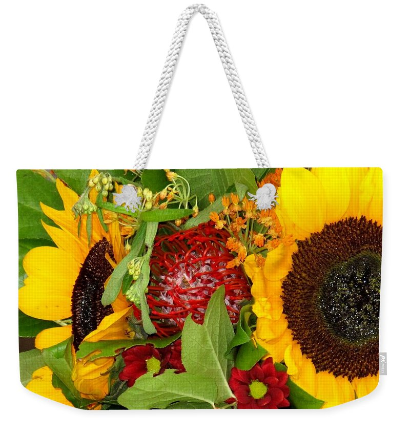 Sunflower Weekender Tote Bag featuring the photograph Two Suns by Ian MacDonald
