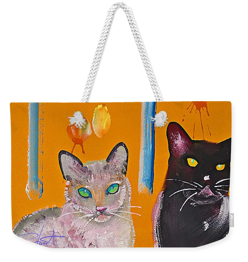 Cat Weekender Tote Bag featuring the painting Two Superior Cats with Wild Wallpaper by Charles Stuart